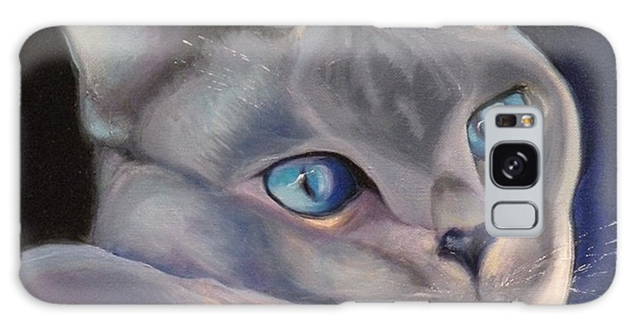 Cat Siamese Greeting Card Galaxy Case featuring the painting Siamese In Blue by Susan A Becker