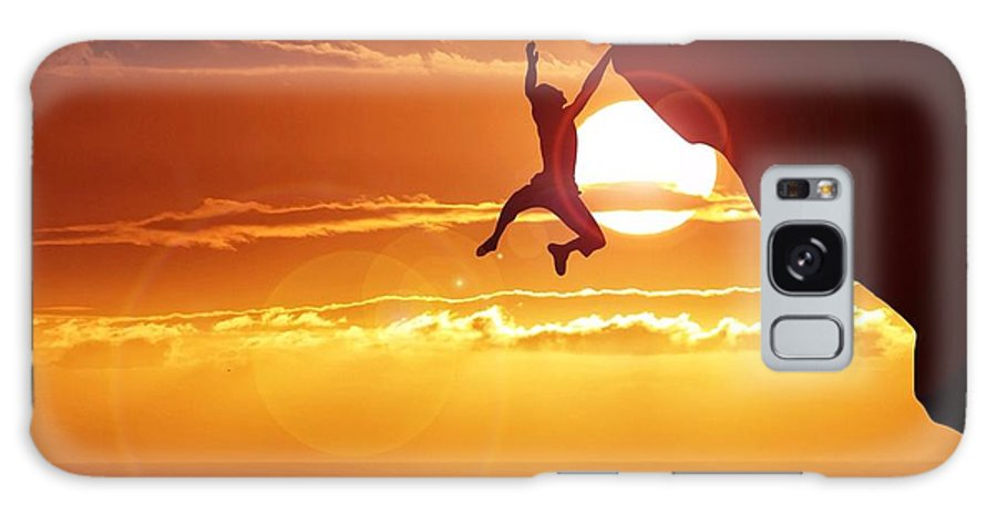 Tranquility Galaxy Case featuring the photograph Silhouette Man Hanging On Cliff Against by Stijn Dijkstra / Eyeem