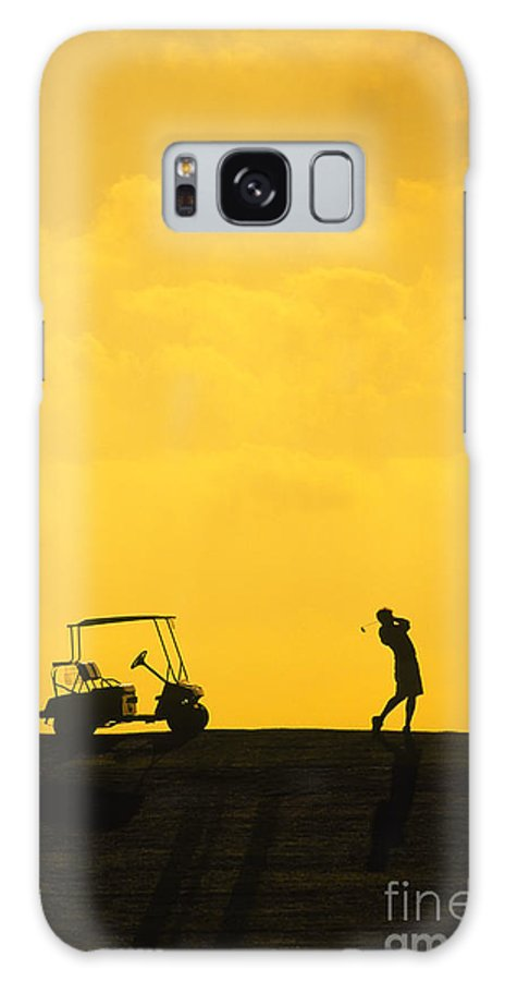 New England Galaxy S8 Case featuring the photograph Silhouette Of A Man During A Golf Swing by Don Landwehrle