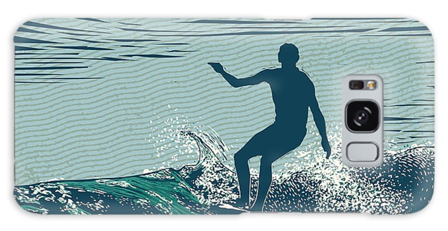 Symbol Galaxy S8 Case featuring the digital art Silhouette Surfer And Big Wave by Jumpingsack