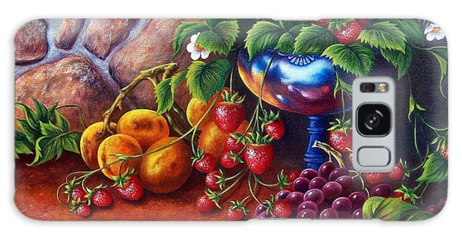 Painting Of Fruit Galaxy S8 Case featuring the painting Silver Vase by Glenda Stevens