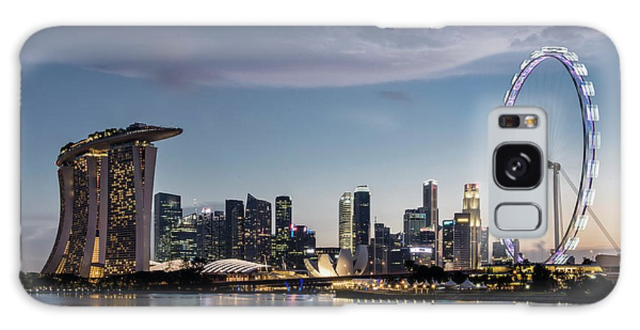 Built Structure Galaxy Case featuring the photograph Singapore Skyline At Dusk by Martin Puddy