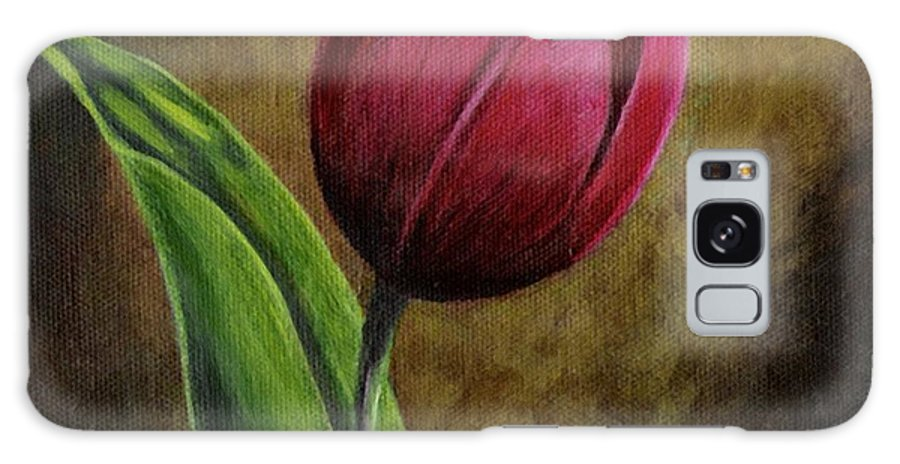 Flower Galaxy Case featuring the painting Single Tulip by Jesslyn Fraser