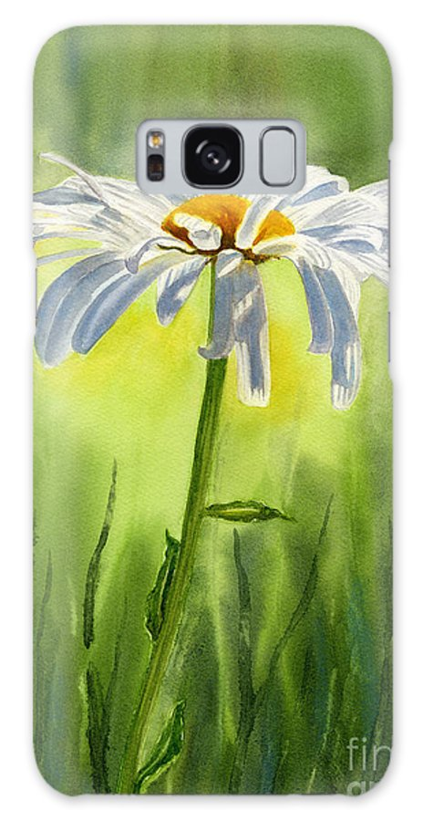 Watercolor Shasta Daisies Galaxy S8 Case featuring the painting Single White Daisy by Sharon Freeman