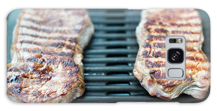 Bbq Galaxy S8 Case featuring the photograph Sirloin Steak On The Barbecue Grill by Frank Gaertner