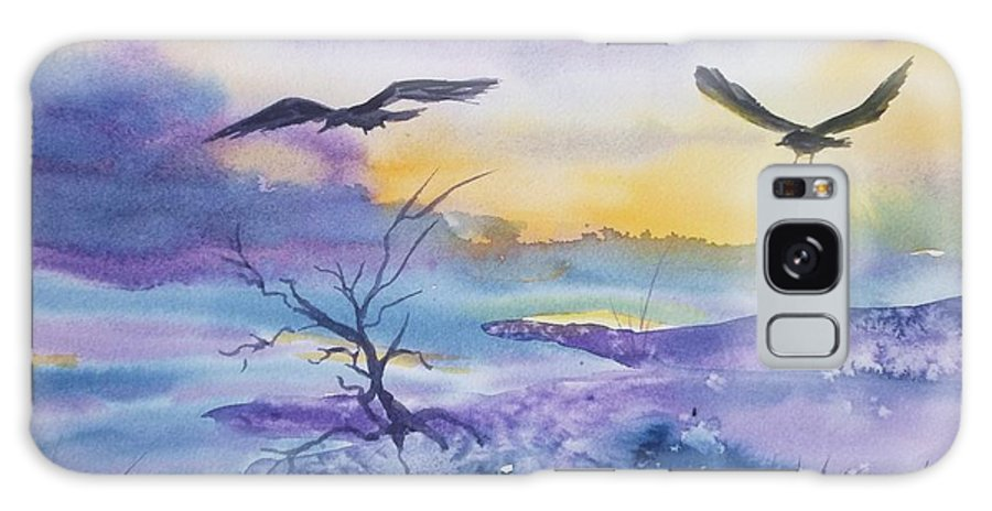 Ravens Galaxy S8 Case featuring the painting Sister Ravens by Ellen Levinson