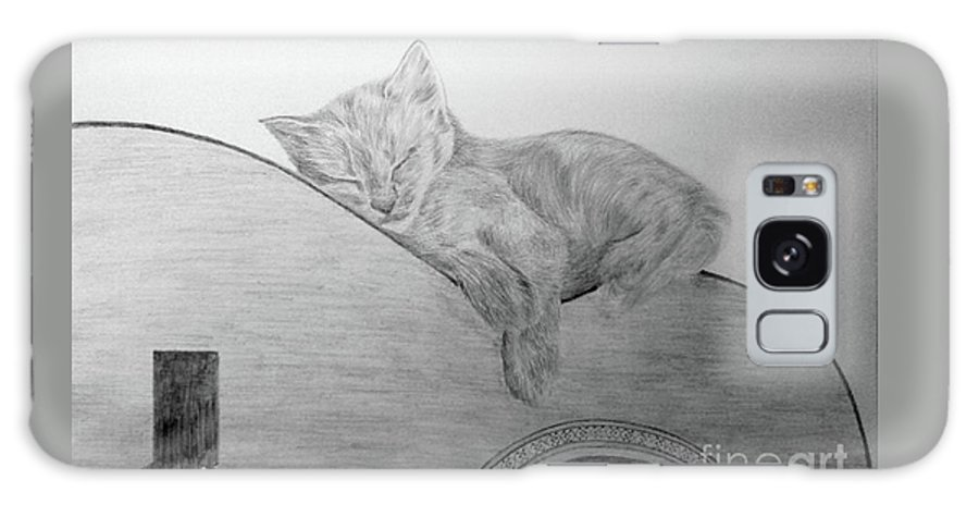 Cat Guitare Pencil Paper Drawing Galaxy S8 Case featuring the drawing Sleep by Nadi Sabirova
