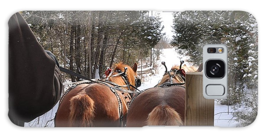 Sleigh Ride Galaxy S8 Case featuring the photograph Sleigh Ride Dwn A Snowy Lane by Valerie Kirkwood