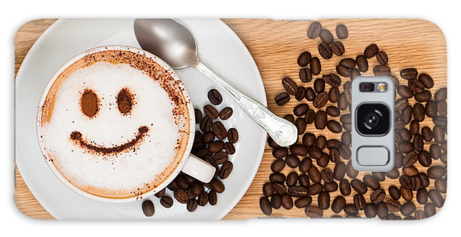 Coffee Galaxy S8 Case featuring the photograph Smiley Face Coffee by Amanda Elwell
