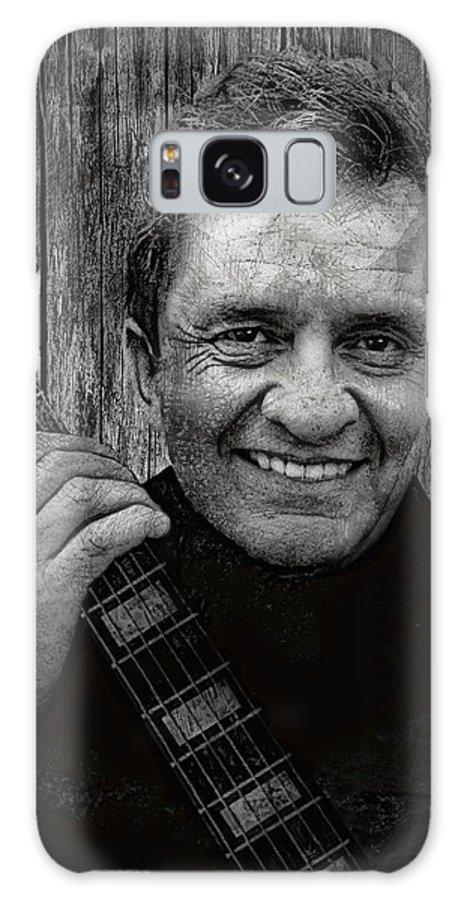 johnny Cash Galaxy Case featuring the digital art Smiling Johnny Cash by Daniel Hagerman
