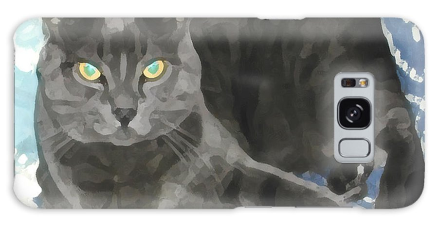 Grey Galaxy S8 Case featuring the photograph Smokey On A Blue Blanket by Jeanne A Martin