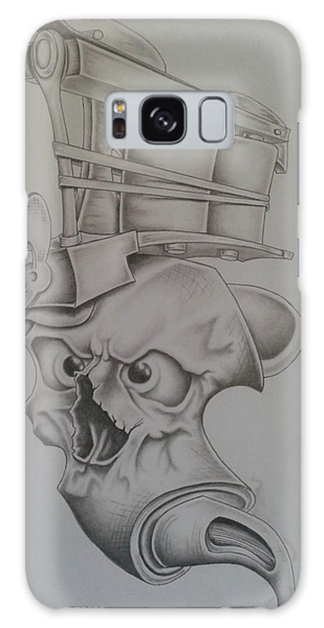 Tattoo Skull Machine Galaxy S8 Case featuring the drawing Smokin'ink by Jeffrey Lamey