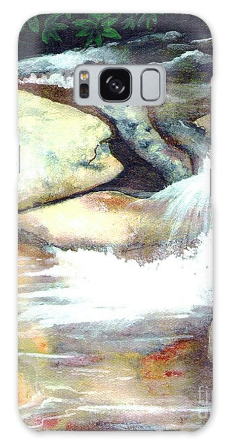 Fine Art Galaxy Case featuring the painting Smoky Mountains Waterfall by Patricia Griffin Brett