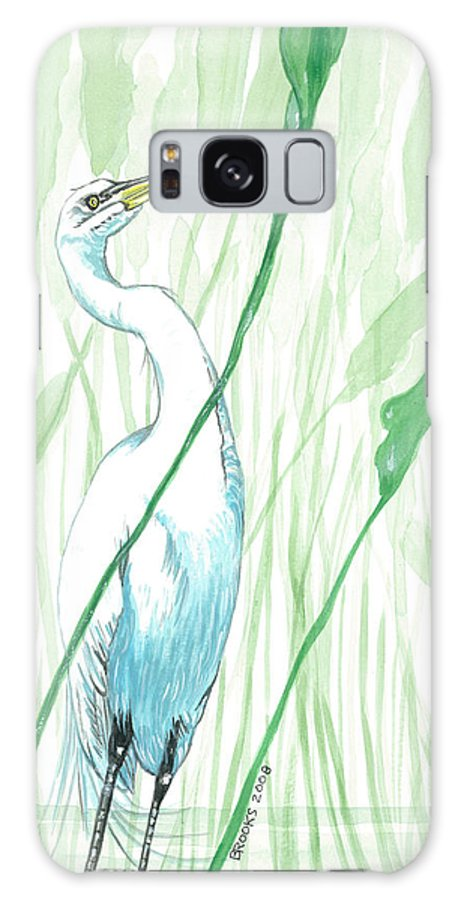 Egret Galaxy S8 Case featuring the painting Snacktime. by Richard Brooks