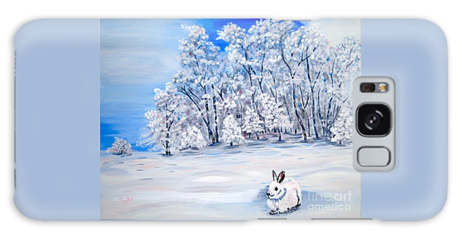 Bunny Galaxy S8 Case featuring the painting Snow Bunny by Phyllis Kaltenbach