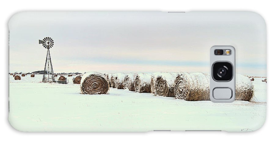 Kansas Galaxy S8 Case featuring the photograph Snow Covered Round Bales by Chris Harris