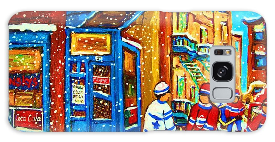 Wilenskys Galaxy S8 Case featuring the painting Snow Falling On The Game by Carole Spandau