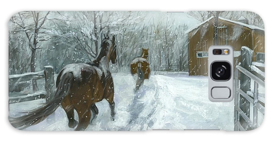Horses Galaxy S8 Case featuring the painting Snow Fun by Karen Bockus