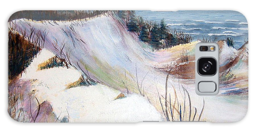 Snow Galaxy S8 Case featuring the painting Snow On The Dunes by Art Nomad Sandra Hansen