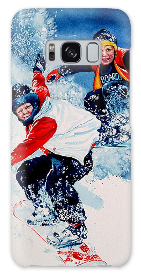 Sports Galaxy S8 Case featuring the painting Snowboard Psyched by Hanne Lore Koehler