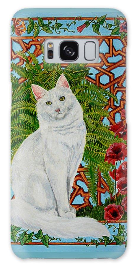White Turkish Angora Galaxy S8 Case featuring the painting Snowi's Garden by Leena Pekkalainen