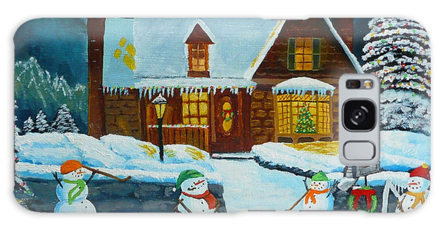 Christmas Galaxy S8 Case featuring the painting Snowmans Hockey by Anthony Dunphy