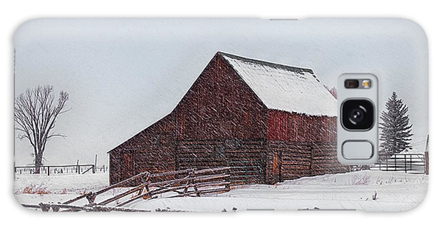 Barn Galaxy S8 Case featuring the photograph Snowstorm At The Ranch by Priscilla Burgers