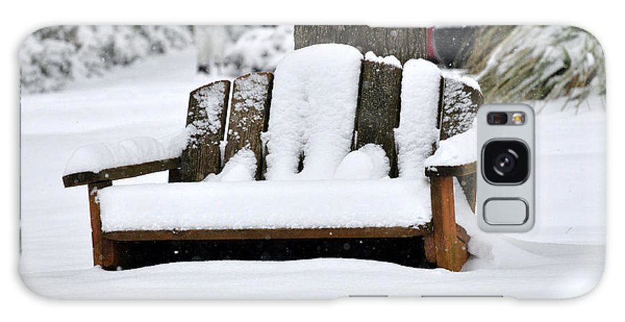 Snow Galaxy S8 Case featuring the photograph Snowy Bench by Sonja Dover