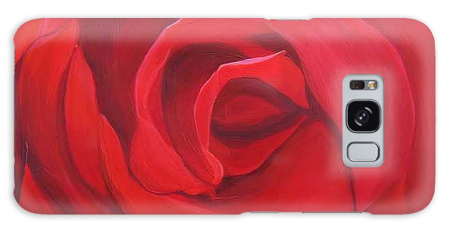 Rose In The Italian Countryside Galaxy Case featuring the painting So Red The Rose by Hunter Jay