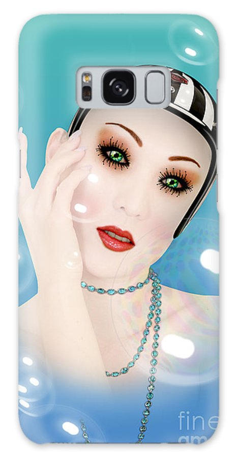 Soap Bubble Galaxy Case featuring the digital art Soap Bubble woman by Mark Ashkenazi