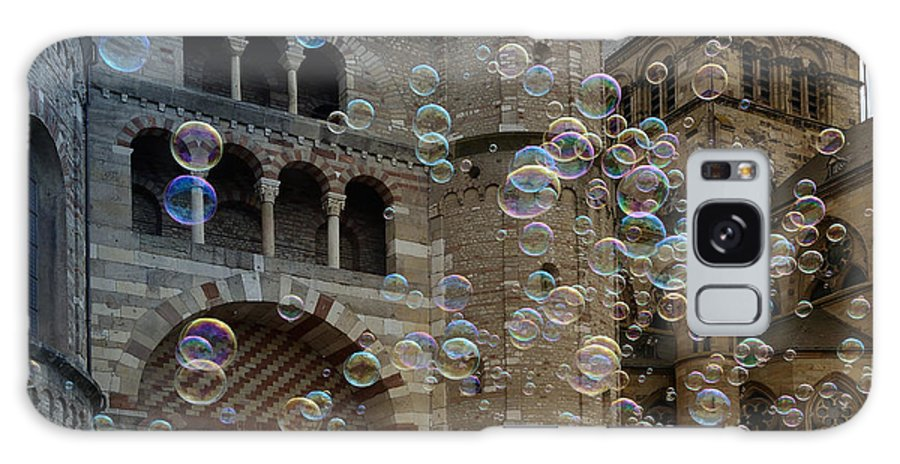Bubbles Galaxy S8 Case featuring the photograph Soap-bubbles In Front Of An Ancient Cathedral by Karin Stein