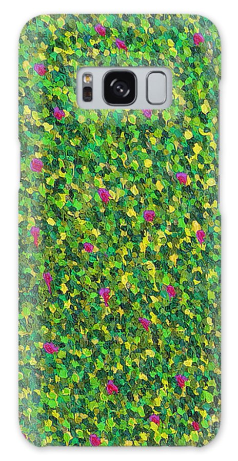Abstract Galaxy Case featuring the painting Soft Green With Pink by Dean Triolo