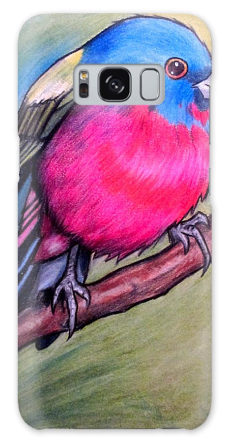 Bird Galaxy S8 Case featuring the mixed media Painted Bunting by Andrea Walton
