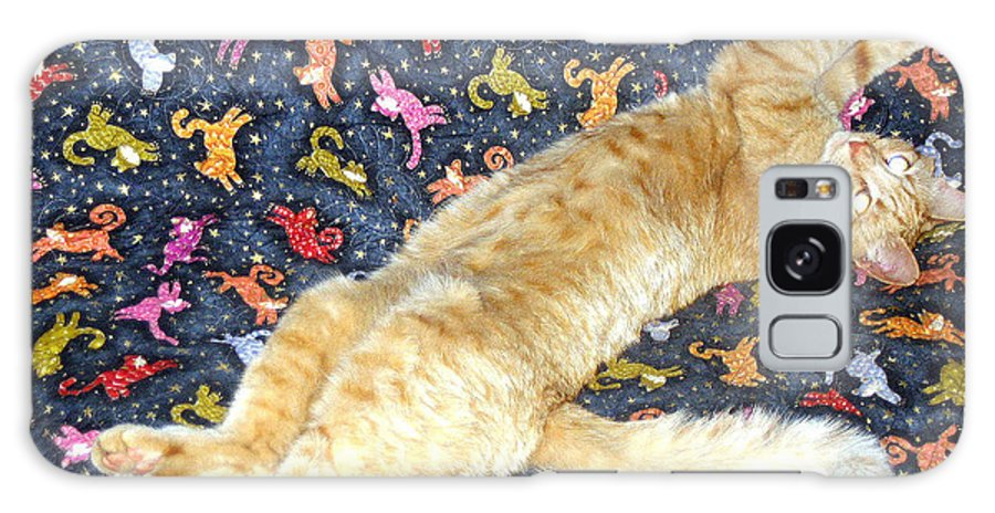 Cat Photograph Galaxy S8 Case featuring the photograph Sonny Cat On Sacred Cat Quilt by Ron McMath