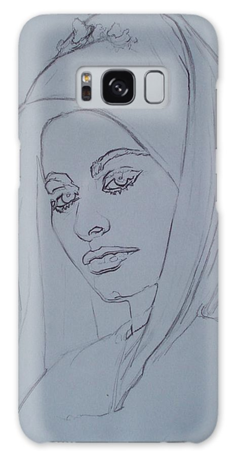 Woman Galaxy Case featuring the drawing Sophia Loren In Headdress by Sean Connolly