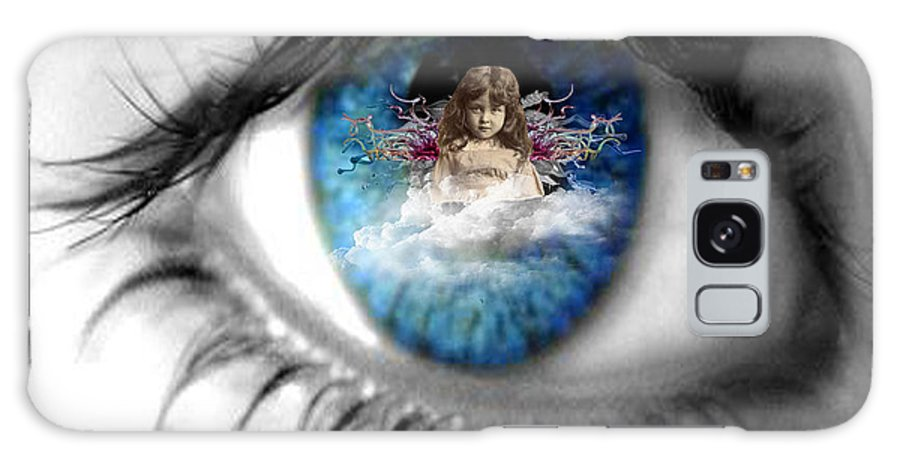 A Soulful Angel Looking Out Of A Beautiful Blue Eye Galaxy S8 Case featuring the digital art Soulful Blue Eye by Paige White