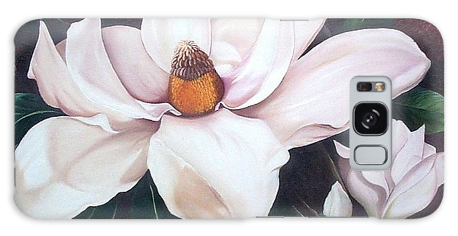 Magnolia Southern Bloom Floral Botanical White Galaxy Case featuring the painting Southern Beauty by Karin Dawn Kelshall- Best