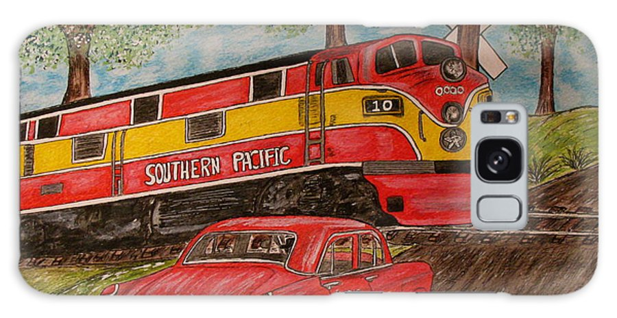 Southern Pacific Railroad Galaxy S8 Case featuring the painting Southern Pacific Train 1951 Kaiser Frazer Car Rr Crossing by Kathy Marrs Chandler