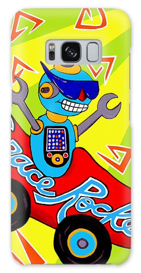 Space Galaxy S8 Case featuring the painting Space Rocket Racer by Lynnda Rakos