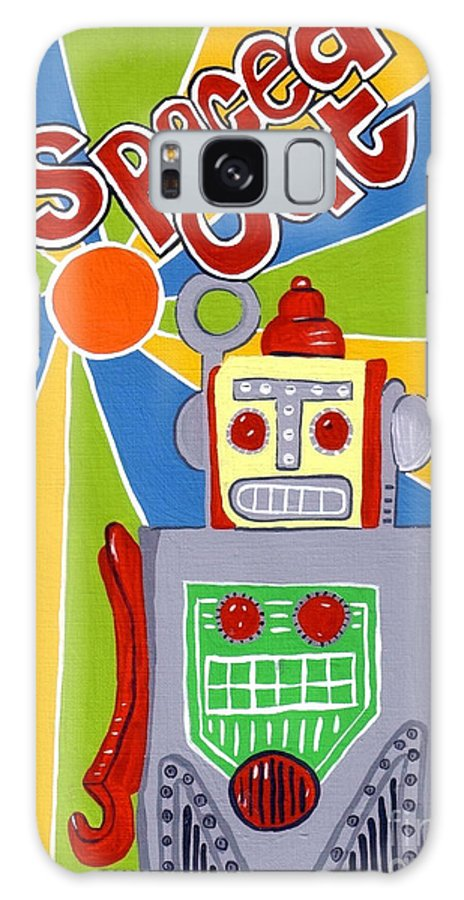 Space Galaxy Case featuring the painting Spaced Out  Toyrobot by Lynnda Rakos
