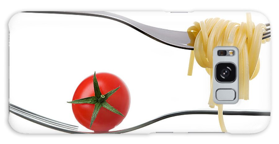 Mediterranean Diet Galaxy S8 Case featuring the photograph Spaghetti And Tomato On Fork White Background by Lee Avison