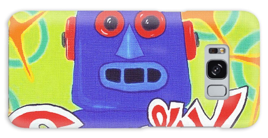 Retro Galaxy Case featuring the painting Sparky The Toy Robot by Lynnda Rakos
