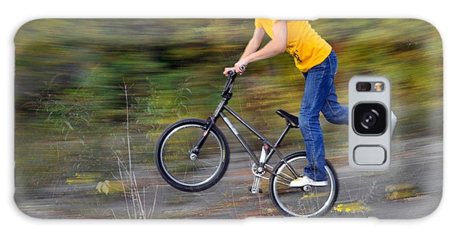 Bmx Flatland Galaxy S8 Case featuring the photograph Speed - Monika Hinz Doing A Wheelie On Her Bmx Flatland Bike by Matthias Hauser