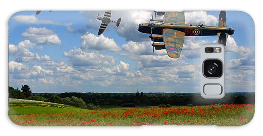 Raf Galaxy S8 Case featuring the photograph Spitfires Lancaster And Poppy Field by Ken Brannen