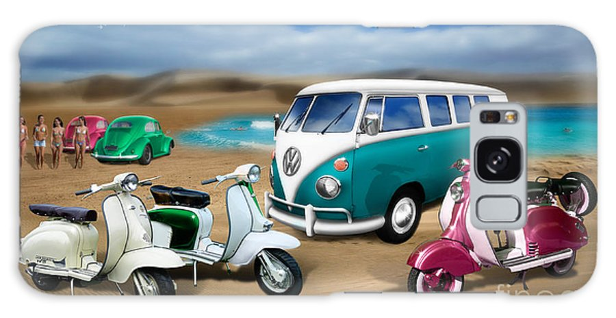 Split Screen Camper Galaxy S8 Case featuring the digital art Splitty Vw Beetle And Scooters by Linton Hart
