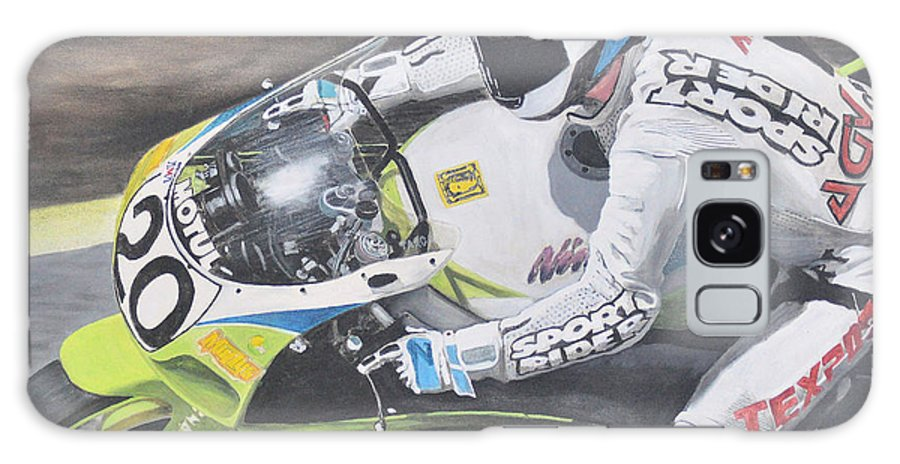 Motorcycle Galaxy Case featuring the painting Sport Rider by Denis Gloudeman