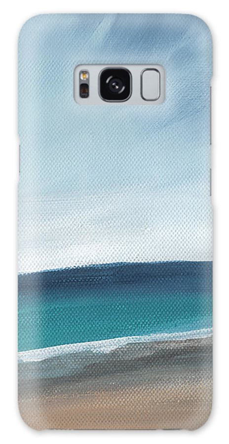 Beach Galaxy S8 Case featuring the painting Spring Beach- Contemporary Abstract Landscape by Linda Woods