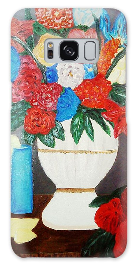 Flower Galaxy S8 Case featuring the painting Spring Bouquet In A Vase by Maria Dunai-Kovacs