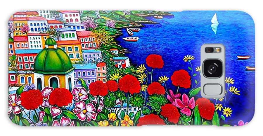 Giovanni Daurea Paintings Galaxy S8 Case featuring the painting Spring In Positano by Giovanni Daurea