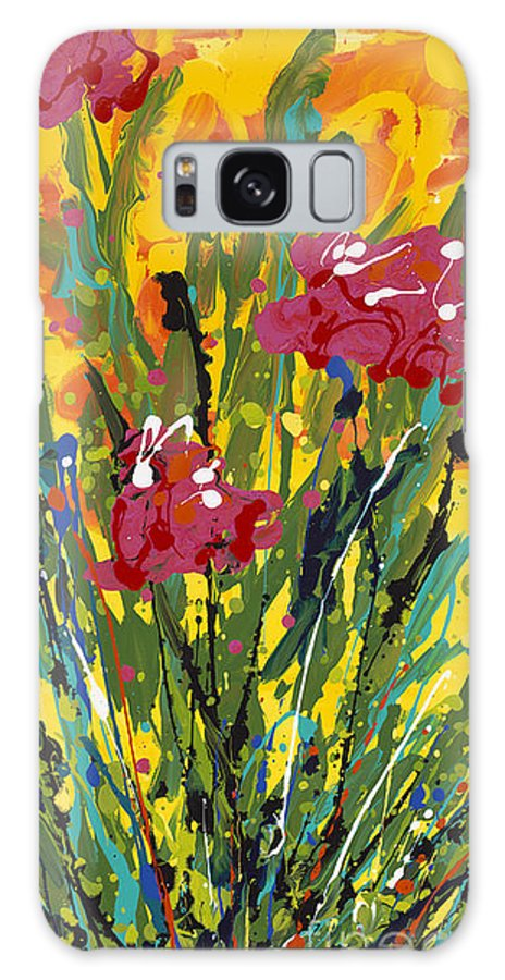 Spring Galaxy S8 Case featuring the painting Spring Tulips Triptych Panel 3 by Nadine Rippelmeyer